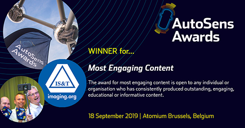 IS&T AVM wins AutoSens Most Engaging Content Award September 2019